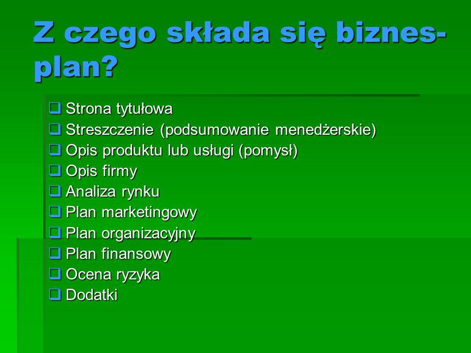 Z czego składa się biznes- plan? Strona tytułowa Strona tytułowa Streszczenie (podsumowanie menedżerskie) Streszczenie (podsumowanie menedżerskie) Opi