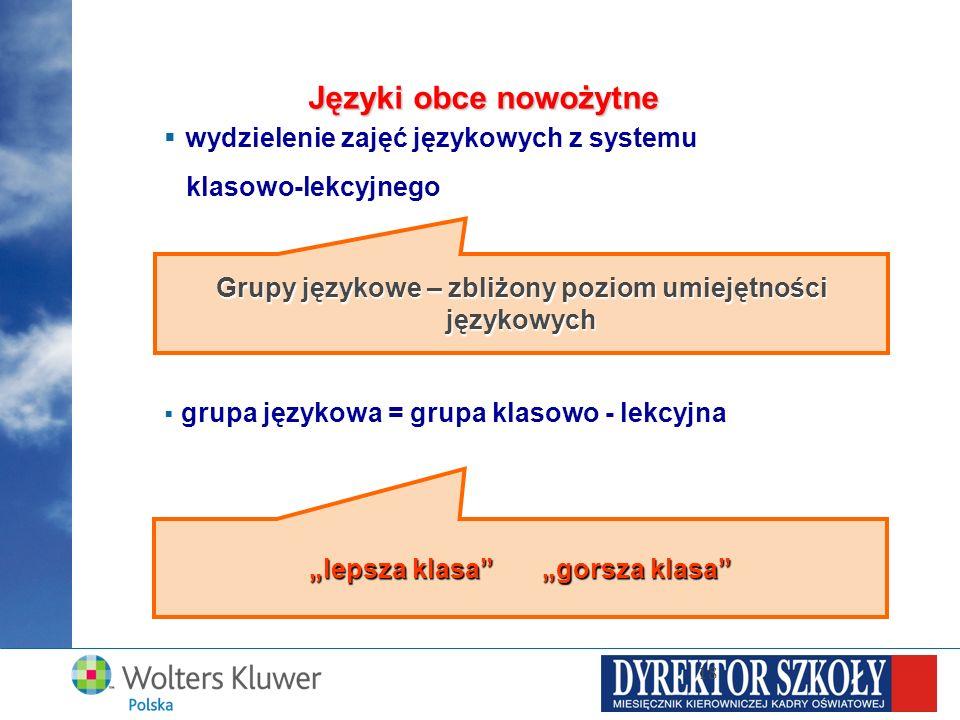 wydzielenie zajęć językowych z systemu klasowo-lekcyjnego grupa językowa = grupa klasowo - lekcyjna 18 Języki obce nowożytne Grupy językowe – zbliżony