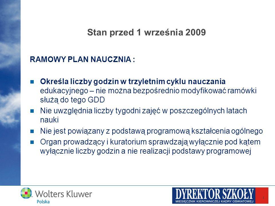 4 Stan przed 1 września 2009 RAMOWY PLAN NAUCZNIA : Określa liczby godzin w trzyletnim cyklu nauczania edukacyjnego – nie można bezpośrednio modyfikow