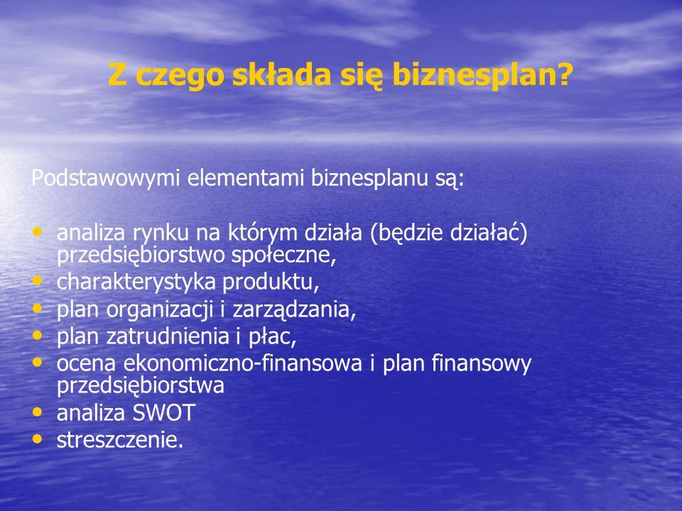 Podstawowymi elementami biznesplanu są: analiza rynku na którym działa (będzie działać) przedsiębiorstwo społeczne, charakterystyka produktu, plan org
