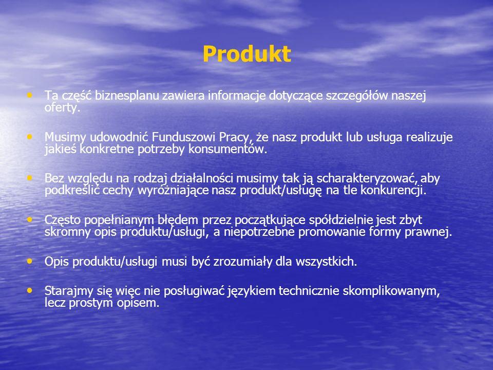 Ta część biznesplanu zawiera informacje dotyczące szczegółów naszej oferty. Musimy udowodnić Funduszowi Pracy, że nasz produkt lub usługa realizuje ja
