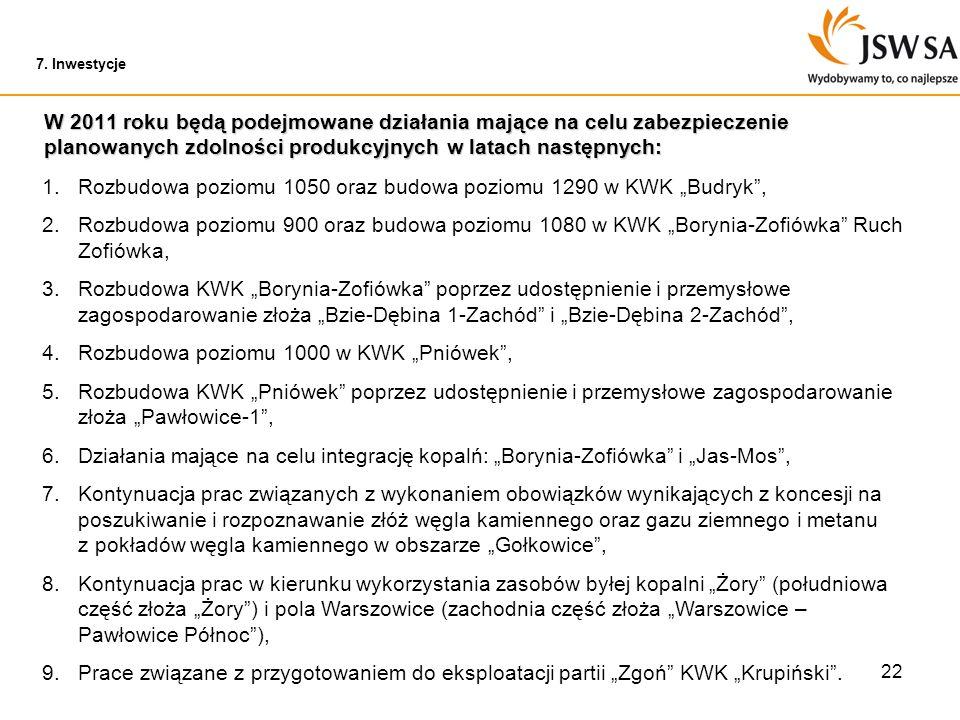 22 W 2011 roku będą podejmowane działania mające na celu zabezpieczenie planowanych zdolności produkcyjnych w latach następnych: 1.Rozbudowa poziomu 1