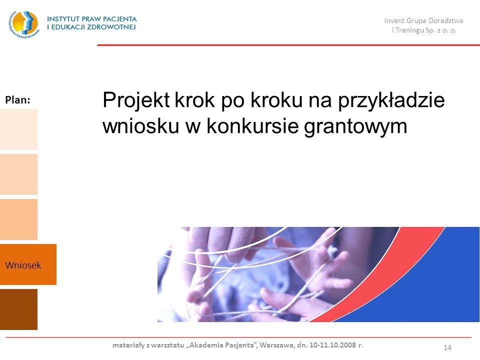 Projekt krok po kroku na przykładzie wniosku w konkursie grantowym 14 Plan: Wniosek Invent Grupa Doradztwa i Treningu Sp.