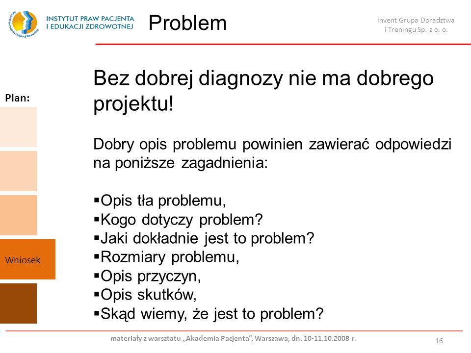 Problem 16 Bez dobrej diagnozy nie ma dobrego projektu! Dobry opis problemu powinien zawierać odpowiedzi na poniższe zagadnienia: Opis tła problemu, K