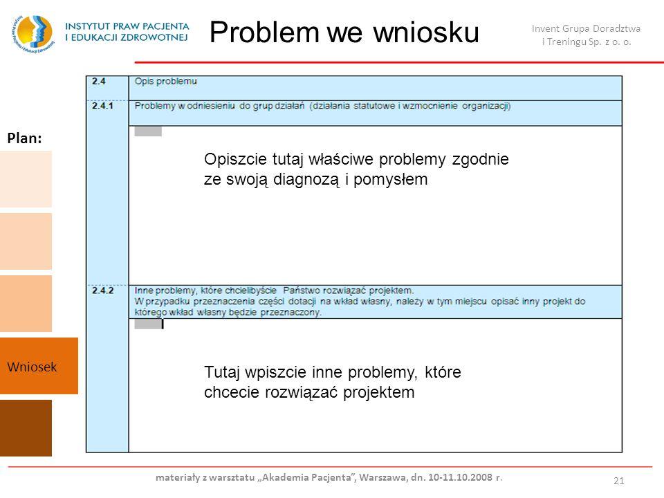 Problem we wniosku 21 Opiszcie tutaj właściwe problemy zgodnie ze swoją diagnozą i pomysłem Tutaj wpiszcie inne problemy, które chcecie rozwiązać proj