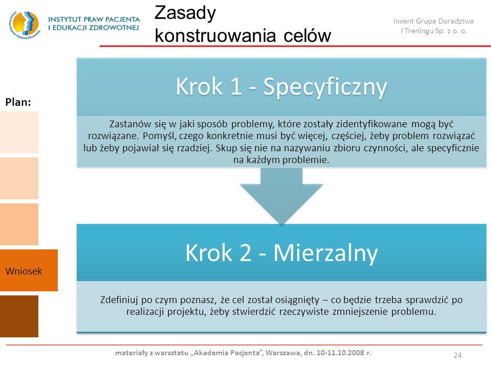 Zasady konstruowania celów 24 Krok 2 - Mierzalny Zdefiniuj po czym poznasz, że cel został osiągnięty – co będzie trzeba sprawdzić po realizacji projektu, żeby stwierdzić rzeczywiste zmniejszenie problemu.