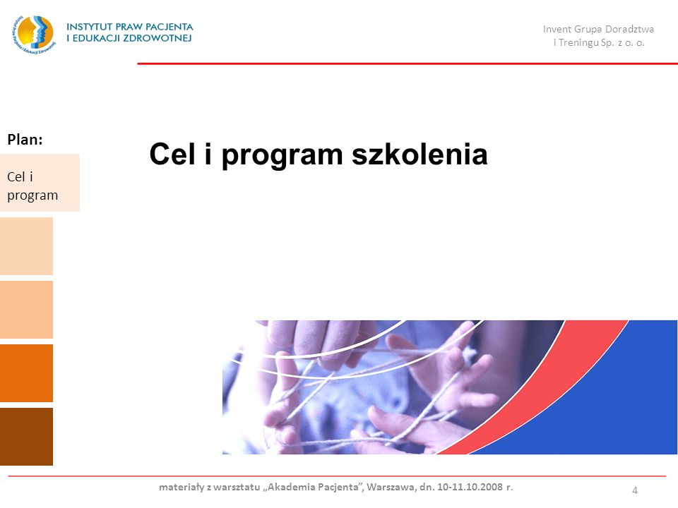 Cel i program szkolenia 4 Plan: Cel i program Invent Grupa Doradztwa i Treningu Sp.