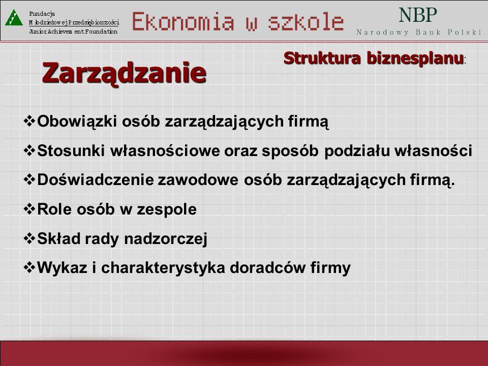 Rynek pracy i ja Zarządzanie Struktura biznesplanu Struktura biznesplanu : Obowiązki osób zarządzających firmą Stosunki własnościowe oraz sposób podziału własności Doświadczenie zawodowe osób zarządzających firmą.