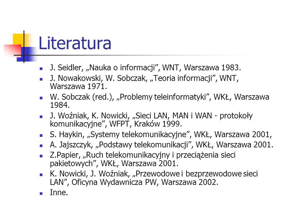 Literatura J. Seidler, Nauka o informacji, WNT, Warszawa 1983. J. Nowakowski, W. Sobczak, Teoria informacji, WNT, Warszawa 1971. W. Sobczak (red.), Pr