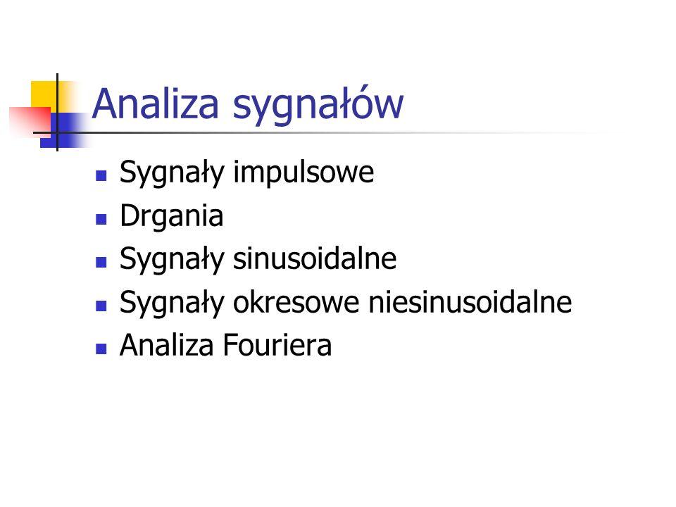 Analiza sygnałów Sygnały impulsowe Drgania Sygnały sinusoidalne Sygnały okresowe niesinusoidalne Analiza Fouriera