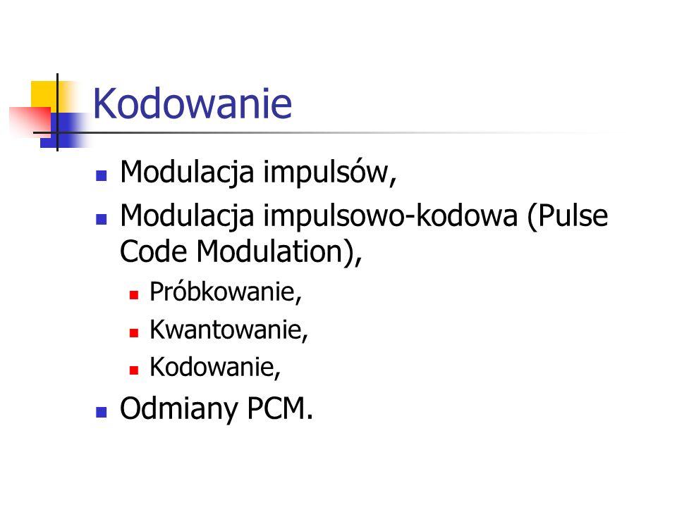 Kodowanie Modulacja impulsów, Modulacja impulsowo-kodowa (Pulse Code Modulation), Próbkowanie, Kwantowanie, Kodowanie, Odmiany PCM.