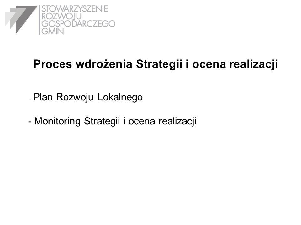 Proces wdrożenia Strategii i ocena realizacji - Plan Rozwoju Lokalnego - Monitoring Strategii i ocena realizacji