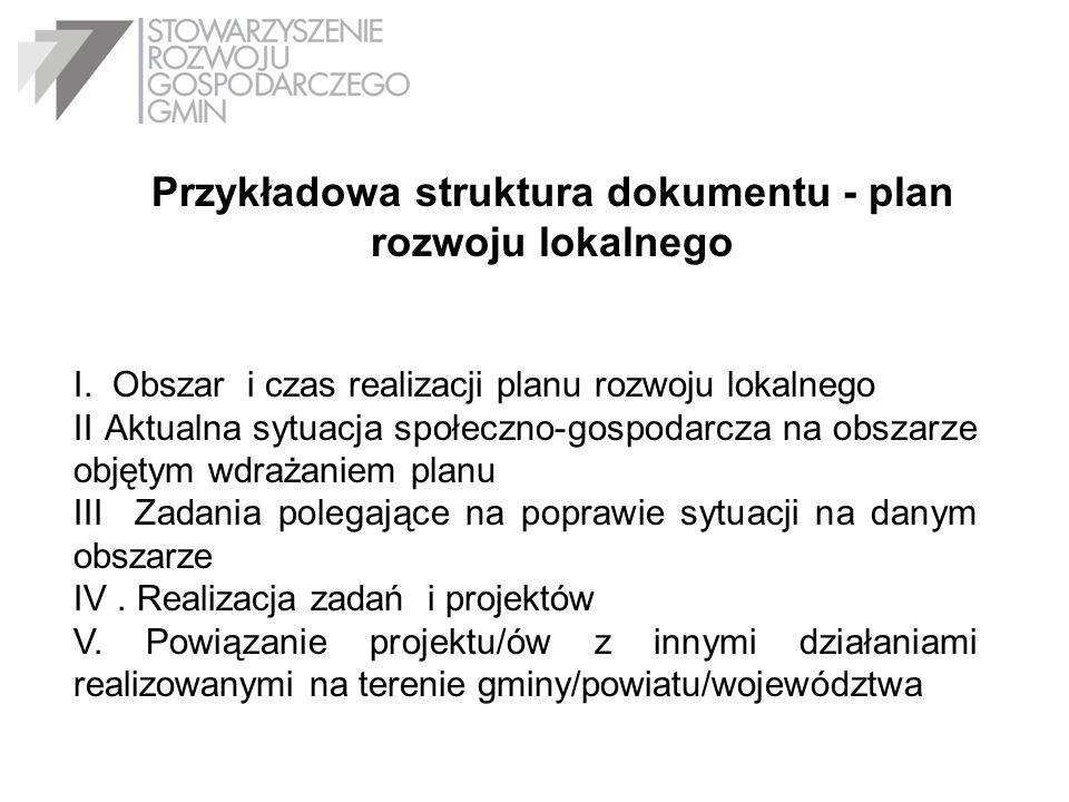 Przykładowa struktura dokumentu - plan rozwoju lokalnego I. Obszar i czas realizacji planu rozwoju lokalnego II Aktualna sytuacja społeczno-gospodarcz