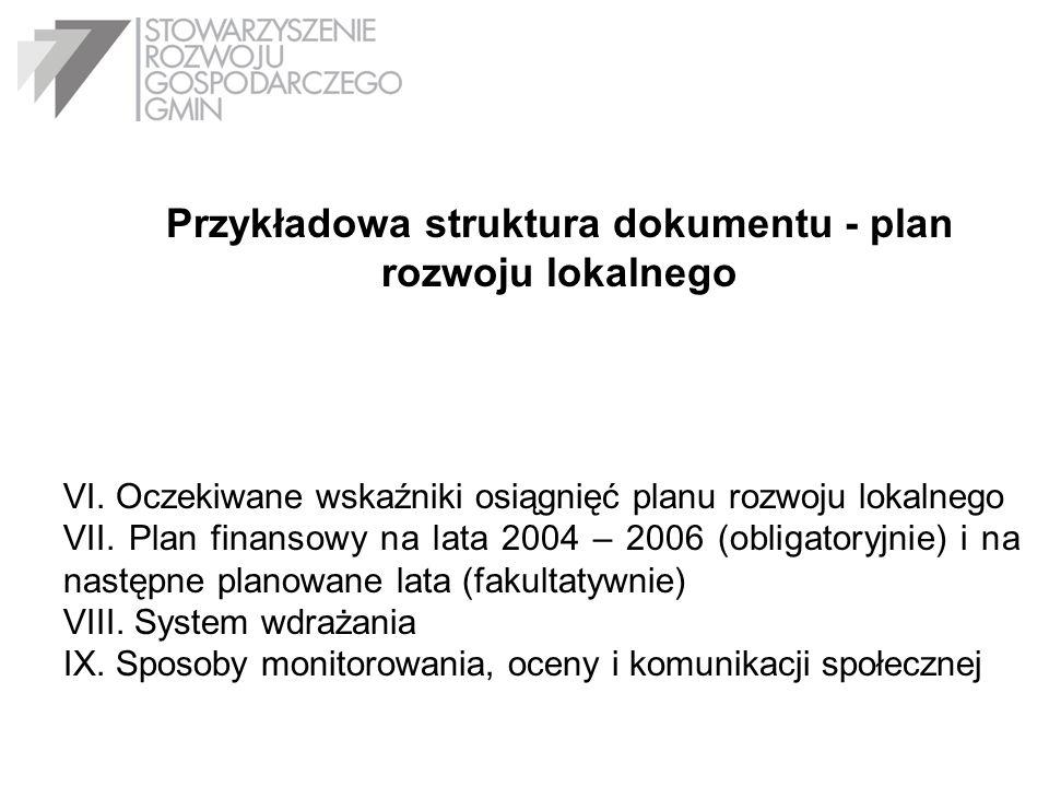 Przykładowa struktura dokumentu - plan rozwoju lokalnego VI. Oczekiwane wskaźniki osiągnięć planu rozwoju lokalnego VII. Plan finansowy na lata 2004 –