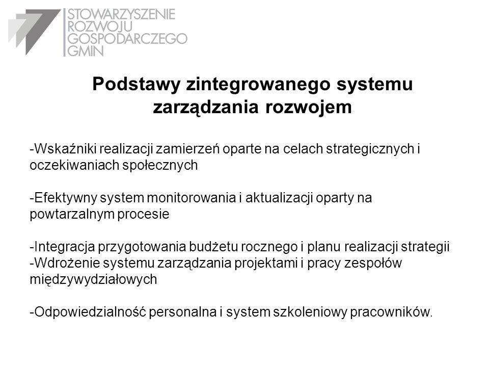 Podstawy zintegrowanego systemu zarządzania rozwojem -Wskaźniki realizacji zamierzeń oparte na celach strategicznych i oczekiwaniach społecznych -Efek