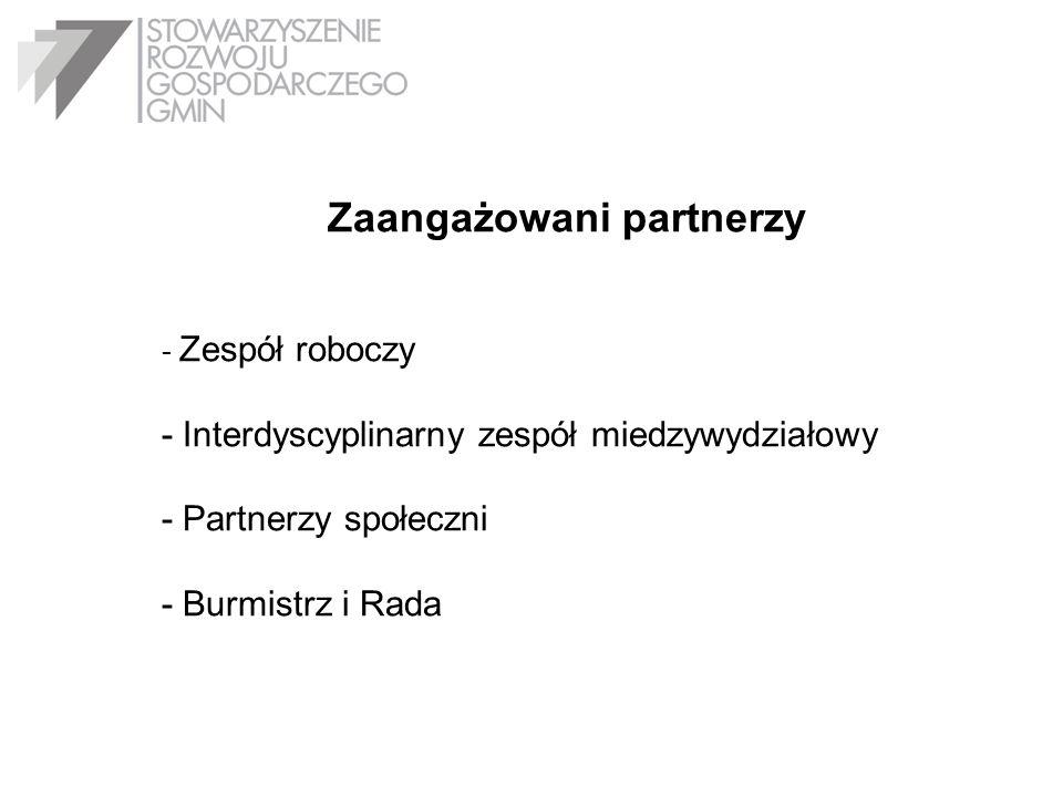 Zaangażowani partnerzy - Zespół roboczy - Interdyscyplinarny zespół miedzywydziałowy - Partnerzy społeczni - Burmistrz i Rada