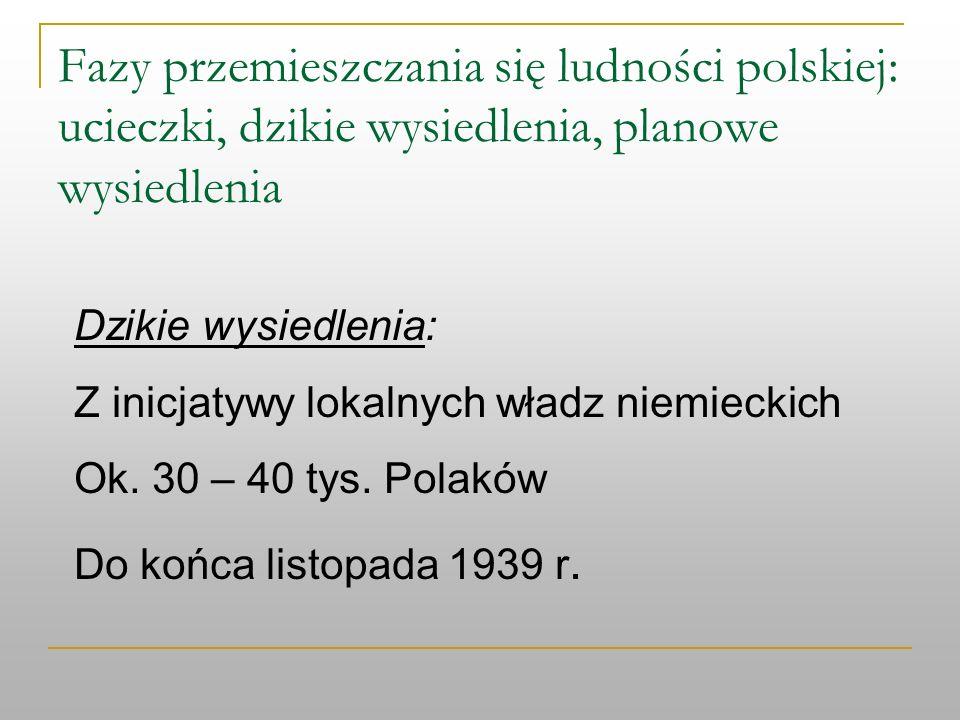 Fazy przemieszczania się ludności polskiej: ucieczki, dzikie wysiedlenia, planowe wysiedlenia Dzikie wysiedlenia: Z inicjatywy lokalnych władz niemiec