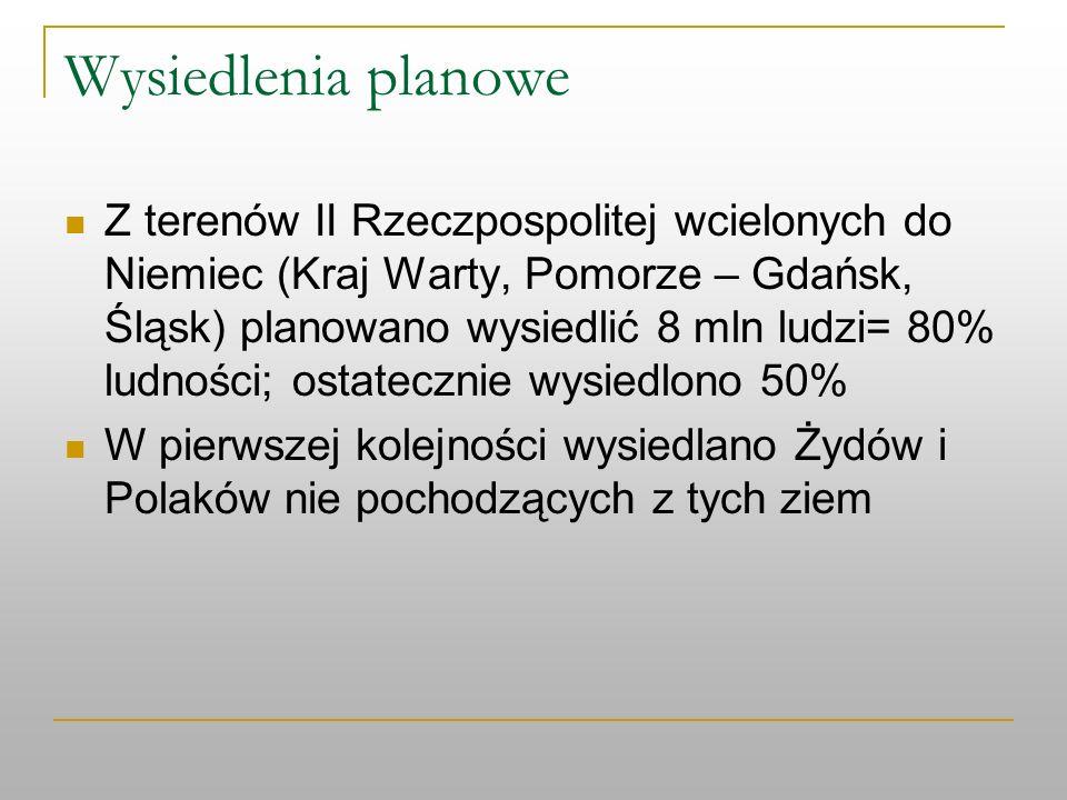 Wysiedlenia planowe Z terenów II Rzeczpospolitej wcielonych do Niemiec (Kraj Warty, Pomorze – Gdańsk, Śląsk) planowano wysiedlić 8 mln ludzi= 80% ludn