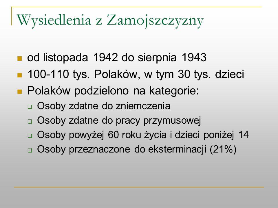 Wysiedlenia z Zamojszczyzny od listopada 1942 do sierpnia 1943 100-110 tys. Polaków, w tym 30 tys. dzieci Polaków podzielono na kategorie: Osoby zdatn