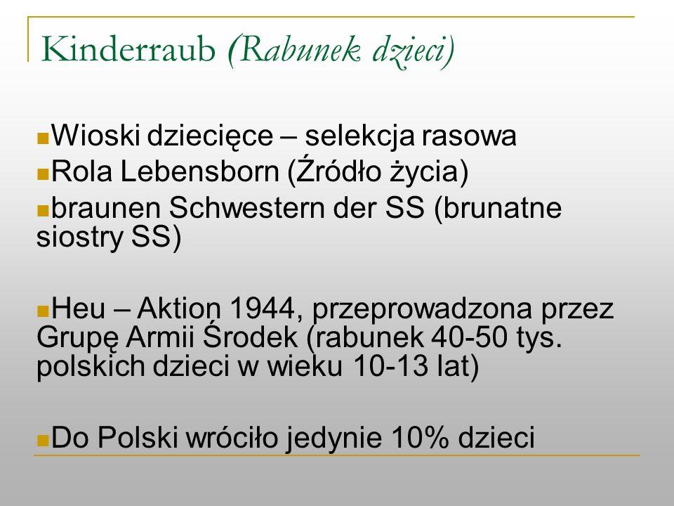 Kinderraub ( Rabunek dzieci) Wioski dziecięce – selekcja rasowa Rola Lebensborn (Źródło życia) braunen Schwestern der SS (brunatne siostry SS) Heu – A