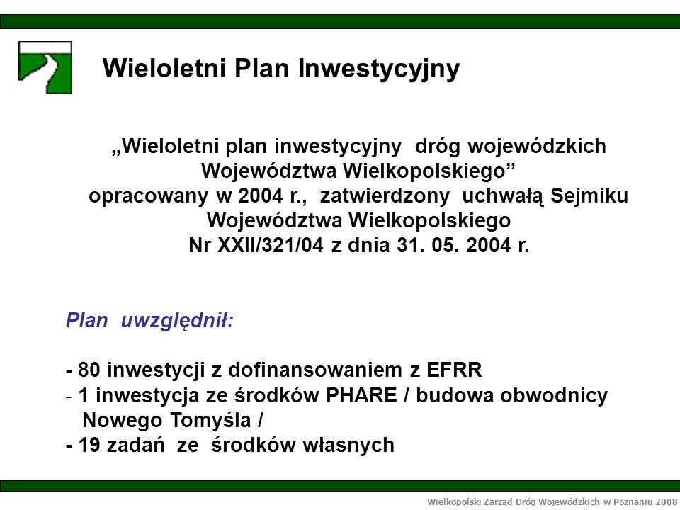 Wielkopolski Zarząd Dróg Wojewódzkich w Poznaniu 2008 Efekty rzeczowe zadań realizowanych w ramach środków własnych: - przebudowano 18,8 km dróg, - wybudowano rondo oraz ciąg pieszo rowerowy o dł.