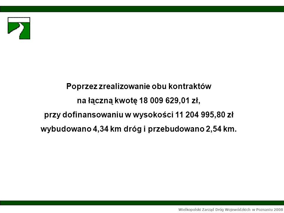 Wielkopolski Zarząd Dróg Wojewódzkich w Poznaniu 2008 Poprzez zrealizowanie obu kontraktów na łączną kwotę 18 009 629,01 zł, przy dofinansowaniu w wysokości 11 204 995,80 zł wybudowano 4,34 km dróg i przebudowano 2,54 km.