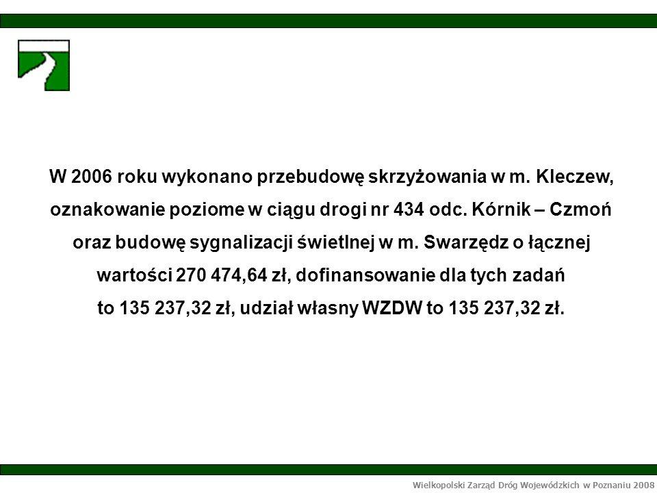 Wielkopolski Zarząd Dróg Wojewódzkich w Poznaniu 2008 W 2006 roku wykonano przebudowę skrzyżowania w m.