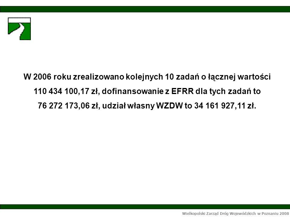Wielkopolski Zarząd Dróg Wojewódzkich w Poznaniu 2008 W 2005 roku zakończono realizację 3 zadań na łączną wartość 6 592 842, 42 zł: - Przebudowa drogi nr 187 w m.