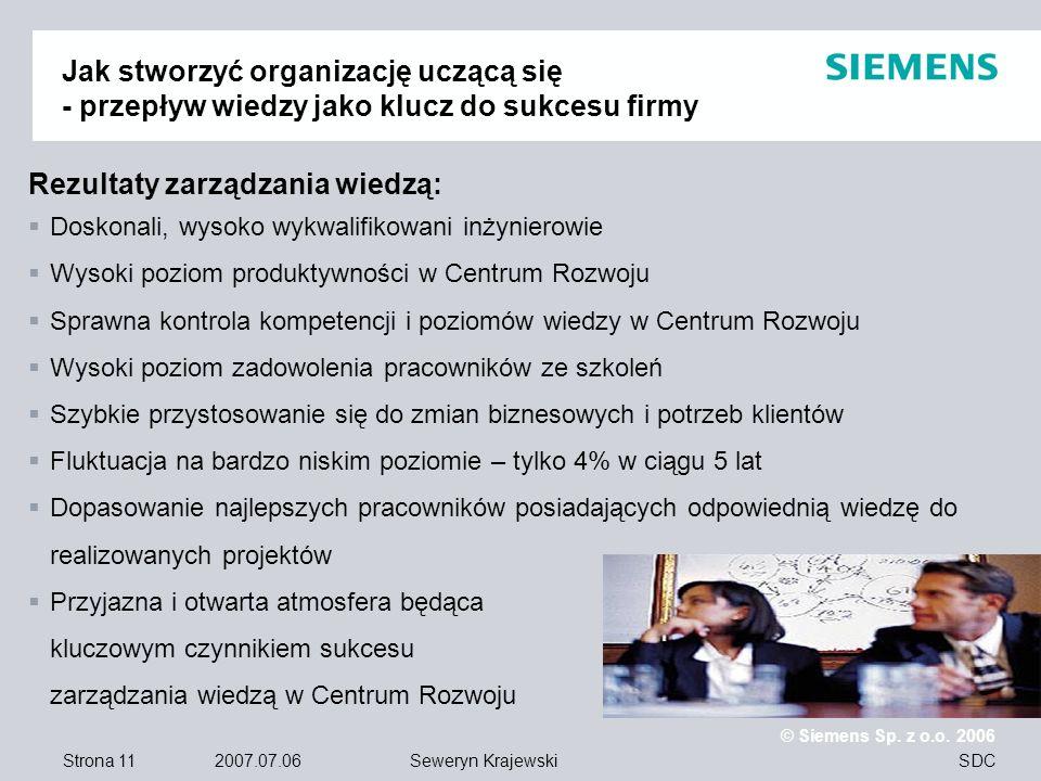 Strona 11 2007.07.06 © Siemens Sp. z o.o. 2006 SDCSeweryn Krajewski Jak stworzyć organizację uczącą się - przepływ wiedzy jako klucz do sukcesu firmy