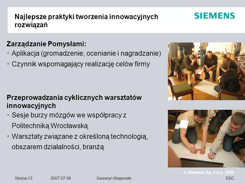 Strona 13 2007.07.06 © Siemens Sp. z o.o. 2006 SDCSeweryn Krajewski Najlepsze praktyki tworzenia innowacyjnych rozwiązań Zarządzanie Pomysłami: Aplika