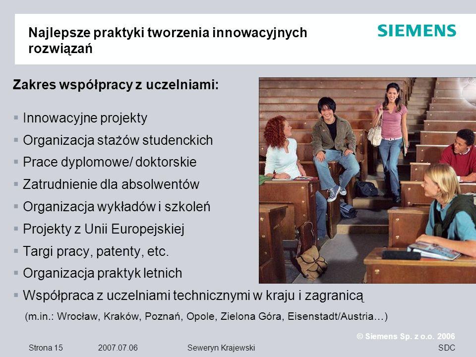 Strona 15 2007.07.06 © Siemens Sp. z o.o. 2006 SDCSeweryn Krajewski Najlepsze praktyki tworzenia innowacyjnych rozwiązań Zakres współpracy z uczelniam