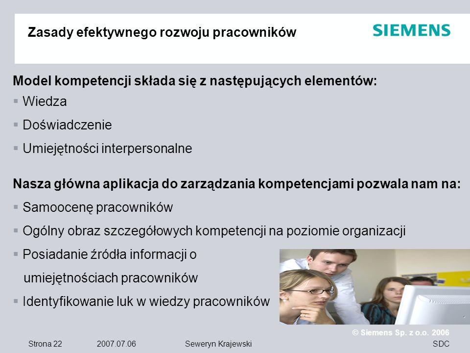 Strona 22 2007.07.06 © Siemens Sp. z o.o. 2006 SDCSeweryn Krajewski Zasady efektywnego rozwoju pracowników Model kompetencji składa się z następującyc