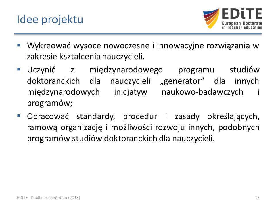 Idee projektu Wykreować wysoce nowoczesne i innowacyjne rozwiązania w zakresie kształcenia nauczycieli.