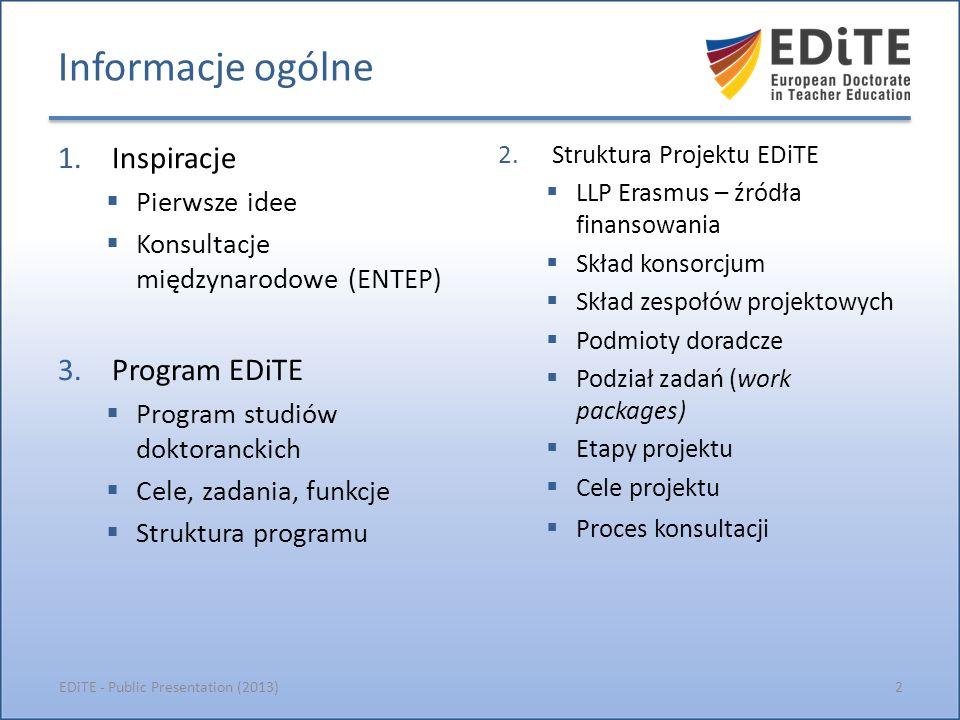 Źródła idei EDiTE 3EDiTE - Public Presentation (2013) Informacje na temat inspiracji i pierwszych pomysłów Konsultacje międzynarodowe - ENTEP