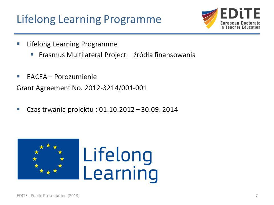 Lifelong Learning Programme Erasmus Multilateral Project – źródła finansowania EACEA – Porozumienie Grant Agreement No.