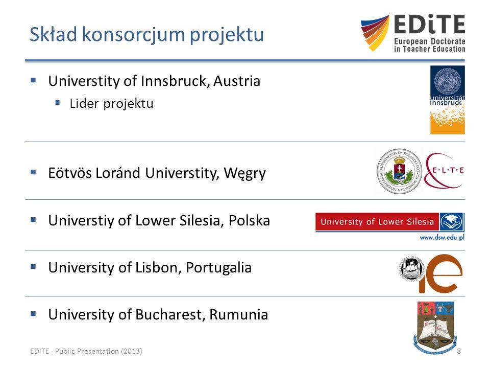 Cele programu doktoranckiego Program … Wspiera studentów w rozwijaniu krytycznego spojrzenia na ich własny system kształcenia, tworzy warunki i możliwości do poszerzania swoego doskonalenia w środowisku międzynarodowym; Organizuje ponadnarodowy system profesjonalnej superwizji wykorzystując do tego zajęcia programowe na wybranych uczelniach; Jest oparty na definicji promującej istotę kompetencji i jakości kompetencji w kształceniu nauczycieli, począwszy od kandydatów na nauczycieli, nauczycieli praktyków, oraz wszystkich zainteresowanych profesjonalnym rozowjem w edukacji; EDiTE - Public Presentation (2013)19