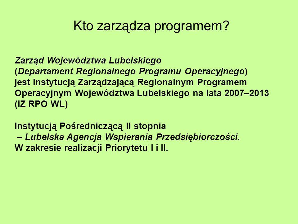 Kto zarządza programem? Zarząd Województwa Lubelskiego (Departament Regionalnego Programu Operacyjnego) jest Instytucją Zarządzającą Regionalnym Progr