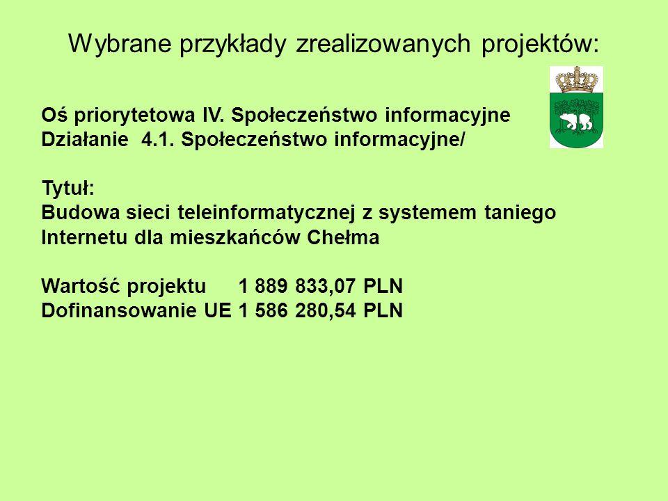 Wybrane przykłady zrealizowanych projektów: Oś priorytetowa IV. Społeczeństwo informacyjne Działanie 4.1. Społeczeństwo informacyjne/ Tytuł: Budowa si