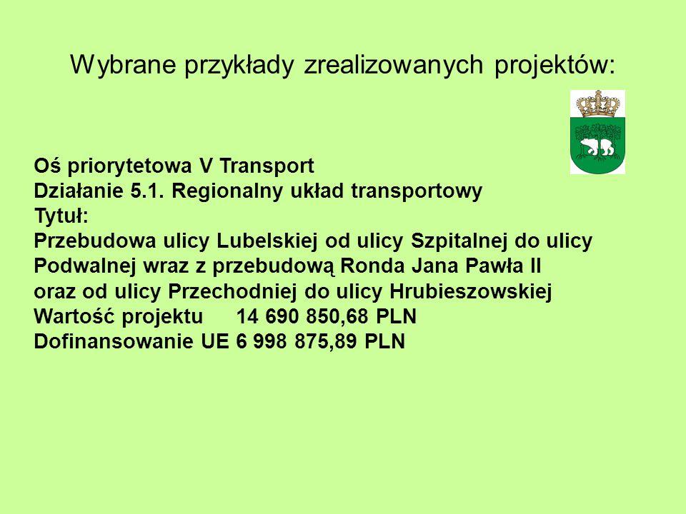 Wybrane przykłady zrealizowanych projektów: Oś priorytetowa V Transport Działanie 5.1. Regionalny układ transportowy Tytuł: Przebudowa ulicy Lubelskie
