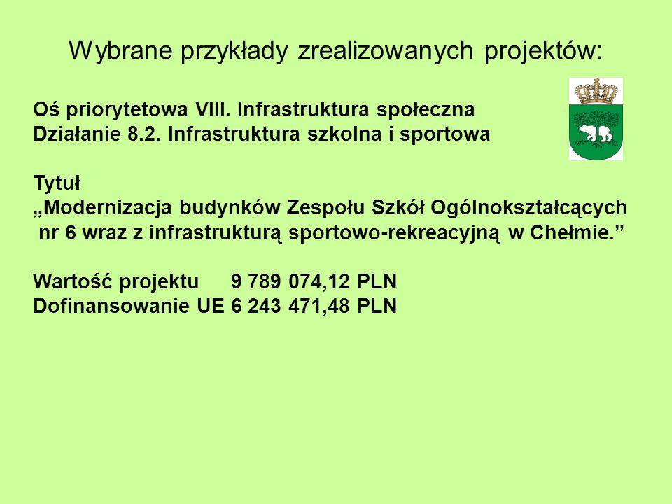 Wybrane przykłady zrealizowanych projektów: Oś priorytetowa VIII. Infrastruktura społeczna Działanie 8.2. Infrastruktura szkolna i sportowa Tytuł Mode