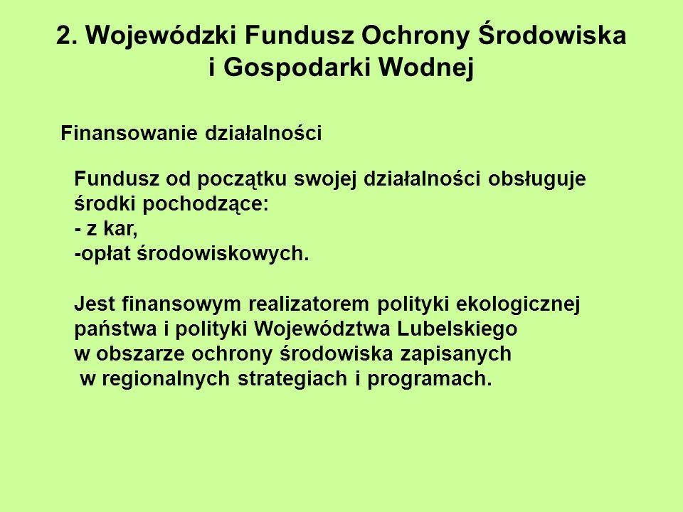 2. Wojewódzki Fundusz Ochrony Środowiska i Gospodarki Wodnej Finansowanie działalności Fundusz od początku swojej działalności obsługuje środki pochod
