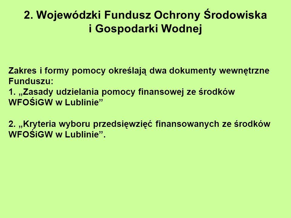2. Wojewódzki Fundusz Ochrony Środowiska i Gospodarki Wodnej Zakres i formy pomocy określają dwa dokumenty wewnętrzne Funduszu: 1. Zasady udzielania p