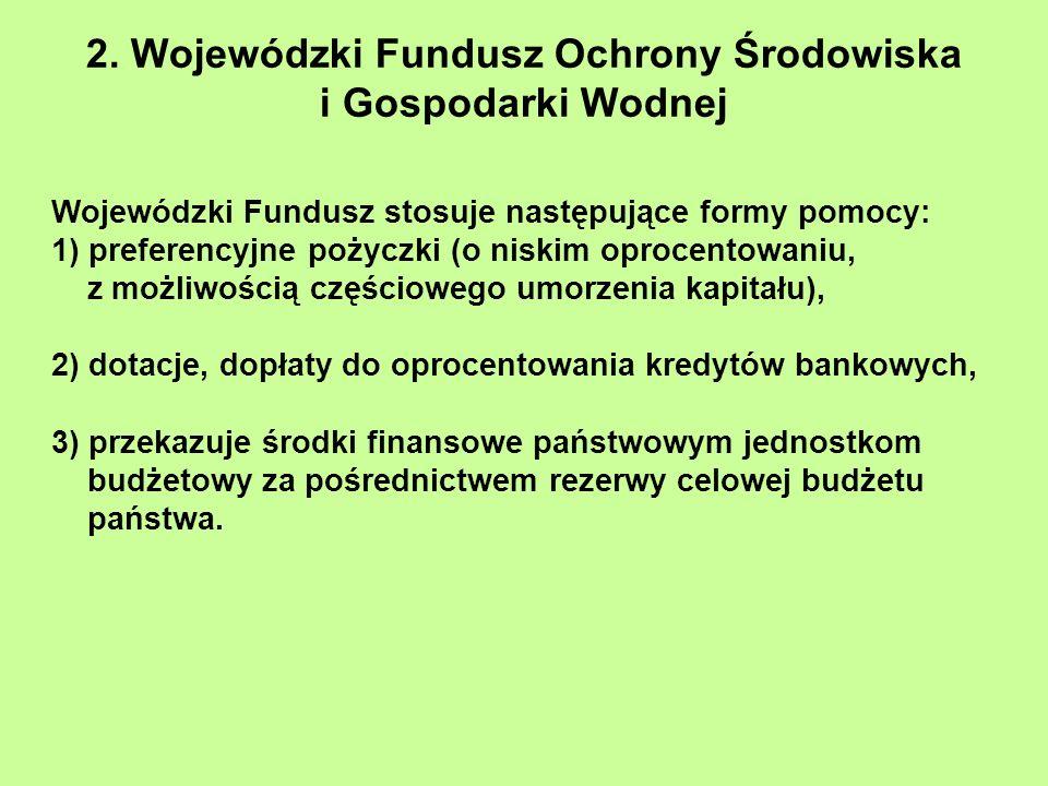 2. Wojewódzki Fundusz Ochrony Środowiska i Gospodarki Wodnej Wojewódzki Fundusz stosuje następujące formy pomocy: 1) preferencyjne pożyczki (o niskim