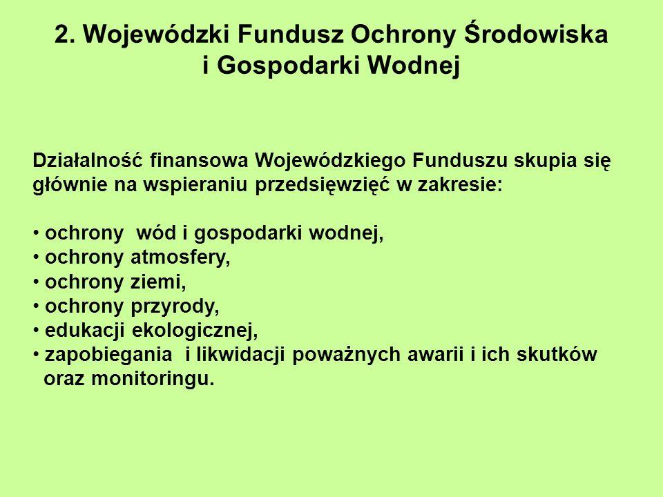 2. Wojewódzki Fundusz Ochrony Środowiska i Gospodarki Wodnej Działalność finansowa Wojewódzkiego Funduszu skupia się głównie na wspieraniu przedsięwzi