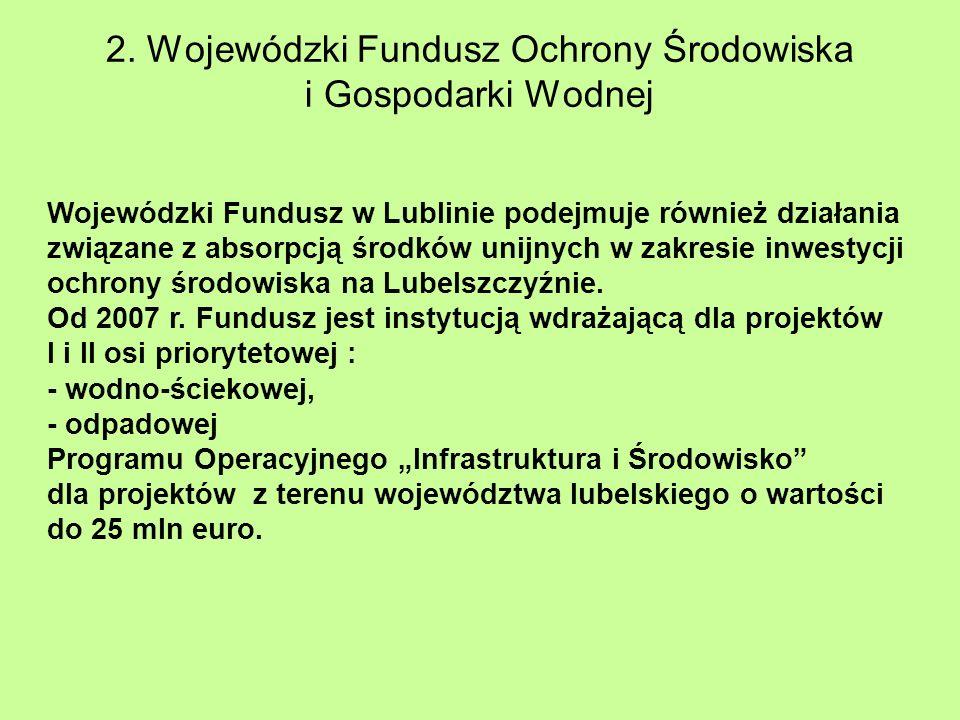 2. Wojewódzki Fundusz Ochrony Środowiska i Gospodarki Wodnej Wojewódzki Fundusz w Lublinie podejmuje również działania związane z absorpcją środków un