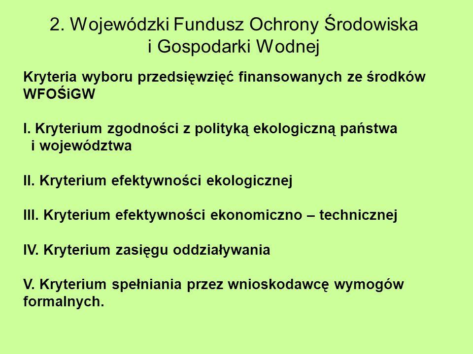 2. Wojewódzki Fundusz Ochrony Środowiska i Gospodarki Wodnej Kryteria wyboru przedsięwzięć finansowanych ze środków WFOŚiGW I. Kryterium zgodności z p