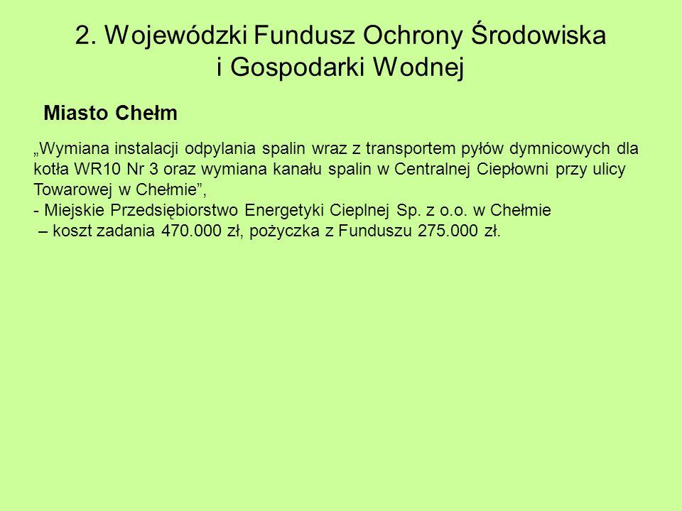 2. Wojewódzki Fundusz Ochrony Środowiska i Gospodarki Wodnej Miasto Chełm Wymiana instalacji odpylania spalin wraz z transportem pyłów dymnicowych dla
