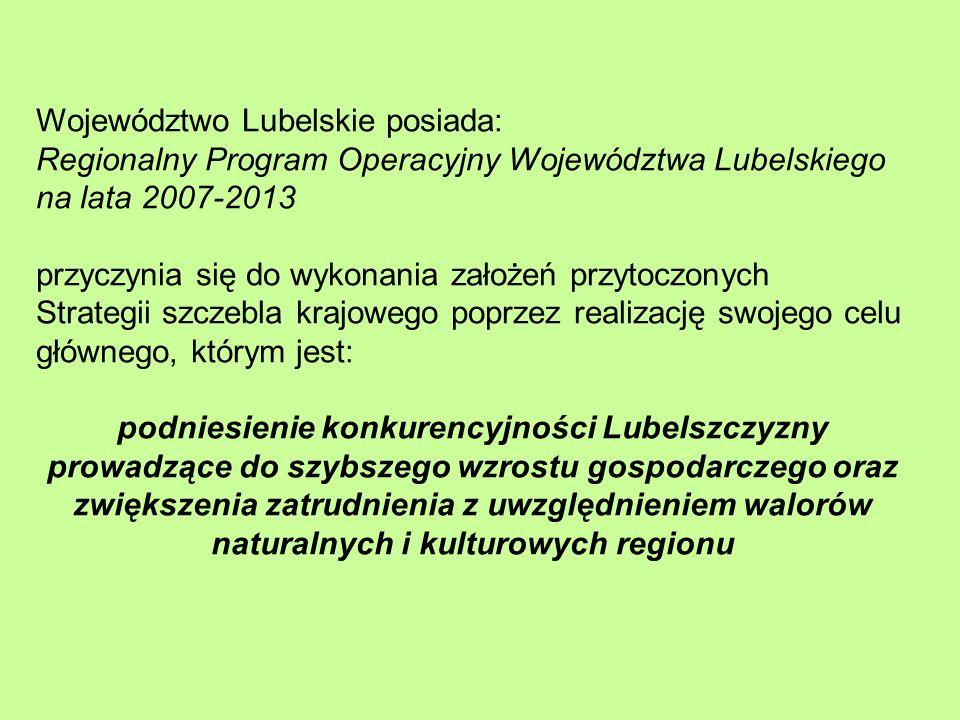 Województwo Lubelskie posiada: Regionalny Program Operacyjny Województwa Lubelskiego na lata 2007-2013 przyczynia się do wykonania założeń przytoczonych Strategii szczebla krajowego poprzez realizację swojego celu głównego, którym jest: podniesienie konkurencyjności Lubelszczyzny prowadzące do szybszego wzrostu gospodarczego oraz zwiększenia zatrudnienia z uwzględnieniem walorów naturalnych i kulturowych regionu
