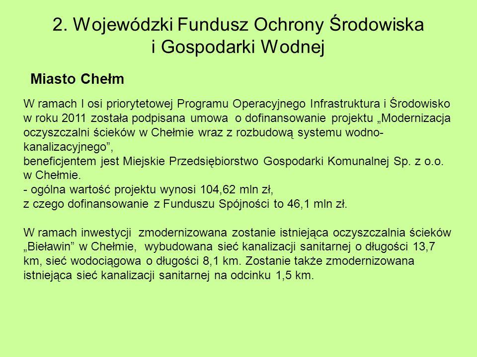 2. Wojewódzki Fundusz Ochrony Środowiska i Gospodarki Wodnej Miasto Chełm W ramach I osi priorytetowej Programu Operacyjnego Infrastruktura i Środowis