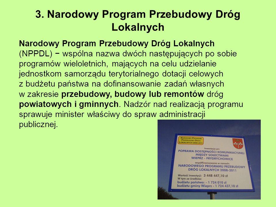 3. Narodowy Program Przebudowy Dróg Lokalnych Narodowy Program Przebudowy Dróg Lokalnych (NPPDL) wspólna nazwa dwóch następujących po sobie programów